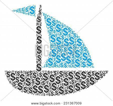 Yacht Mosaic Of Dollar Symbols. Vector Dollar Pictograms Are Organized Into Yacht Mosaic.