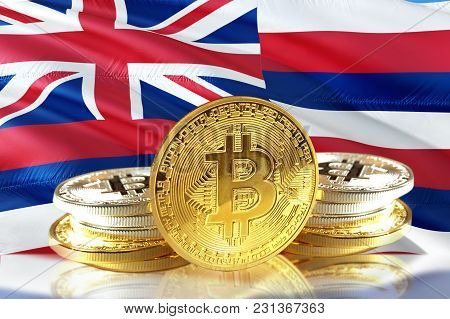 Bitcoin Coins On Hawaii's Flag, Cryptocurrency, Digital Money Concept Photo