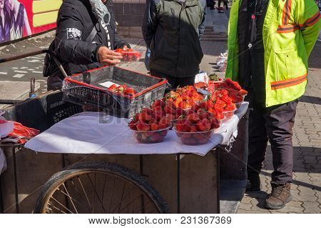 Strawberries Are Freshly Sold On Chinese Streets In Winter