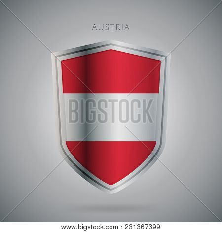 Flags Europe Vector Icon. Austria Flag, Isolated. Modern Design. National Country Flag. Country Of M