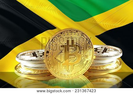 Bitcoin Coins On  Jamaica's Flag, Cryptocurrency, Digital Money Concept Photo