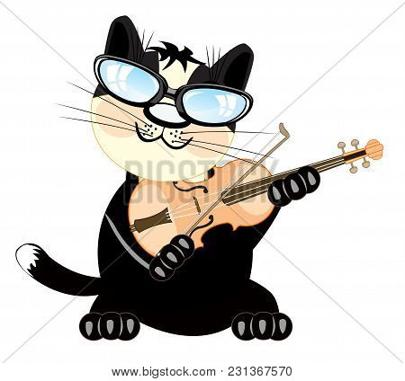 Cartoon Of The Cat Playing On Music Instrument Violin