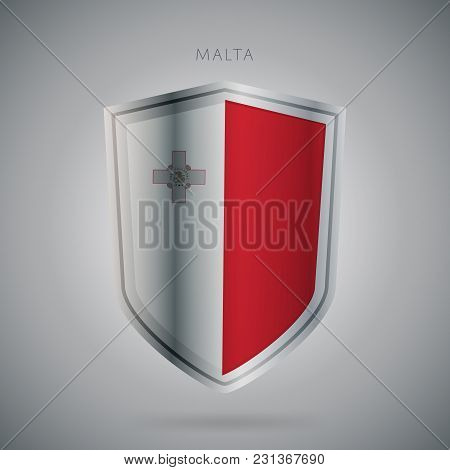 Flags Europe Vector Icon. Malta Flag, Isolated. Modern Design. National Country Flag. Country Of Mem