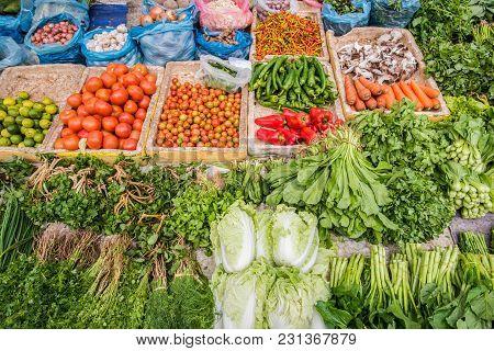 Local Fresh Market In Luang Prabang, Laos