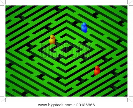 green maze with people