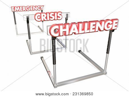 Challenge Crisis Emergency Overcome Hurdles 3d Illustration