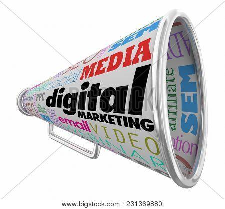 Digital Marketing Bullhorn Megaphone Words 3d Illustration
