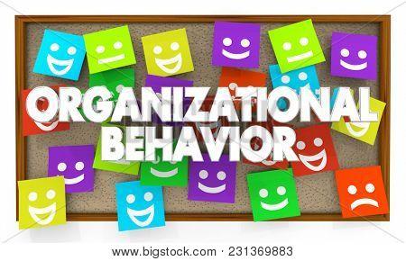 Organizational Behavior Interaction Communication Bulletin Board 3d Illustration poster