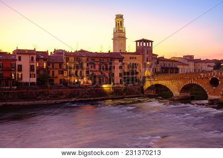 Image Of Verona. Pietra Bridge On Adige River