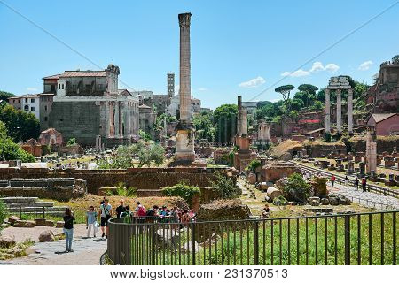Roman Forum, Rome, Italy - May 17, 2017: View Of The Roman Forum With The Temple Of Castor And Pollu