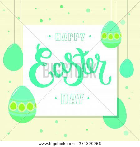 Hand Sketched Happy Easter Day Text With Eggs As Pascha Logotype, Badge And Icon. Drawn Resurrection