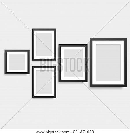 Set Of Black Square Photo Frames. Vector
