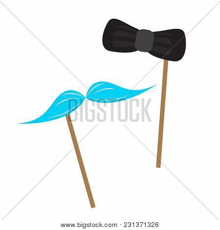 Mustache And Bowtie Icon On Sticks. Vector Illustration Design