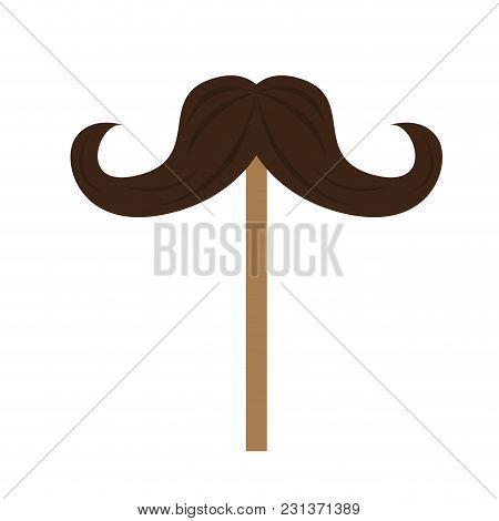 Mustache Icon On A Stick. Vector Illustration Design