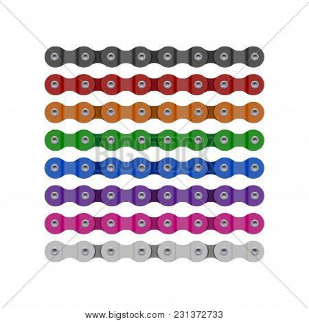 Multicolored Bike Or Bicycle Chain Segments. Realistic Detailed Bike Chain Illustration.