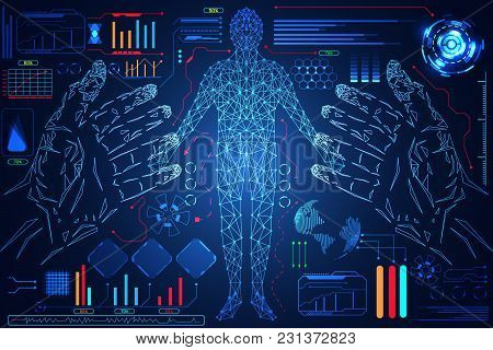 Abstract Technology Science Interface Hands Digital Blue Hi Tech And Human Body On Blue Background.v