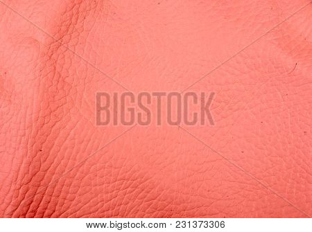 Red Natural Leather Texture Background, Closeup, Macro