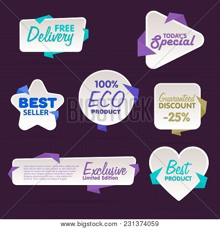 Sale Tag Vector Isolated. Sale Sticker With Special Advertisement Offer. Tags Collection. Super Sale