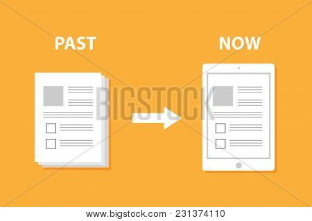 Evolution Of Devices From Paper To Smart Gadget Innovation Digital Concept Document Pass To Tablet S