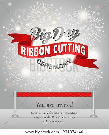 Grand Opening Celebration Banner Design Illustration. Ribbon Cutting Ceremony.