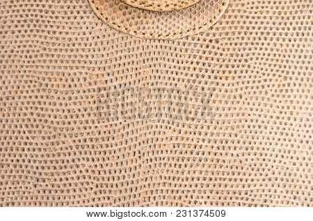 Closeup Of The Texture Brown Leather Hand Bag