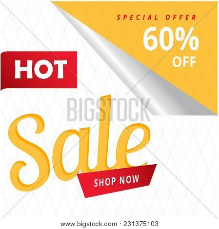 Hot Sale Shop Now Special Offer 60% Off Vector Image