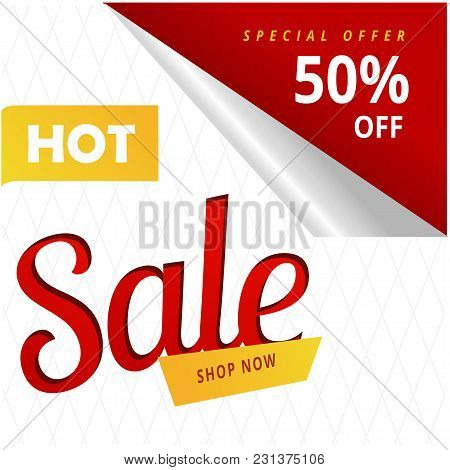 Hot Sale Shop Now Special Offer 50% Off Vector Image