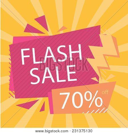 Flash Sale 70% Off Bolt Orange Background Vector Image
