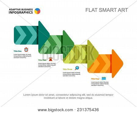 Four Steps Process Chart Slide Template. Business Data. Workflow, Plan, Design. Creative Concept For