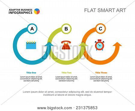 Three Points Process Chart Slide Template. Business Data. Option, Issue, Design. Creative Concept Fo