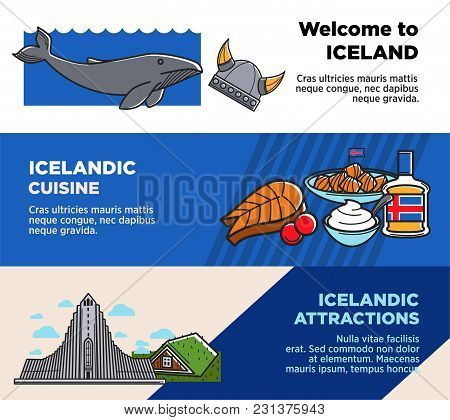 Welcome To Iceland, Icelandic Cuisine And Attractions Posters. Travel Agency Banner With National Di