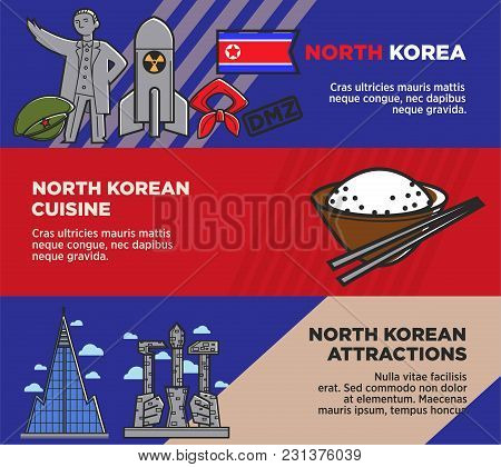 North Korean Cuisine And Attractions Promotional Posters Set. Welcome To Korea Commercial Banners. M