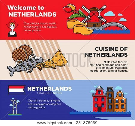 Netherlands Travel Destination Promo Posters Set With Sample Texts. National Cuisine And Symbols On