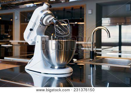 White Mixer In The Modern Kitchen