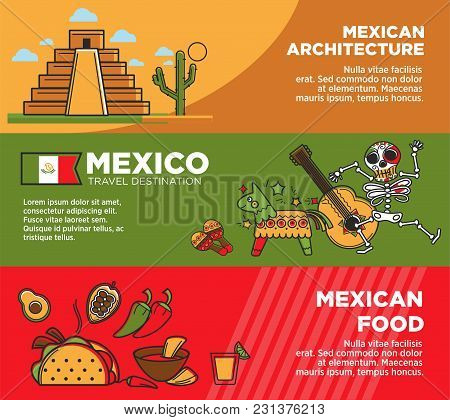 Mexican Architecture And Food On Promotional Posters Set. Historical Heritage, Hot Exotic Spicy Food