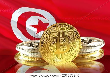 Bitcoin Coins On  Tunisia's Flag, Cryptocurrency, Digital Money Concept Photo