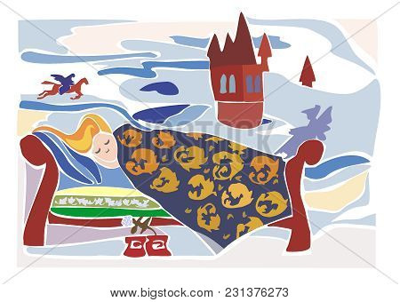 Vector Picture Sleeping Beauty Sees A Dream Of A Prince And A Castle, A Fairy Reads A Book