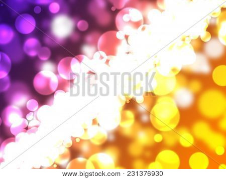 An abstract scattering of colorful lights across the background