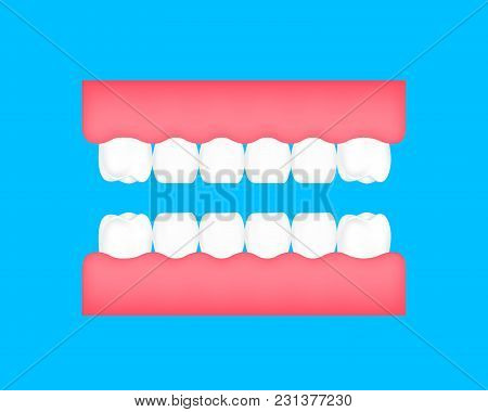 Dental Cartoon Of  Healthy Tooth. Dental Care Concept. Illustration Isolated On Blue Background.