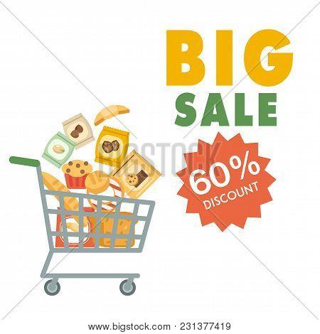 Big Sale 60% Discount Cart Background Vector Image