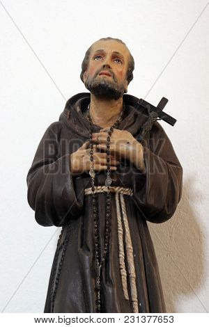 SMOKVICA, CROATIA - MARCH 21: Saint Francis, statue on the altar in the Church of Blessed Virgin of Purification in Smokvica, Korcula island, Croatia, on March 21, 2017.