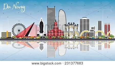 Da Nang Vietnam City Skyline with Color Buildings, Blue Sky and Reflections. Business Travel and Tourism Concept with Modern Architecture. Da Nang Cityscape with Landmarks.