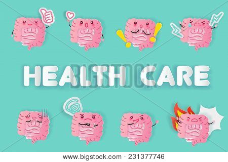 Cute Cartoon Intestine With Health Care On The Green Background