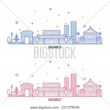 Bucharest Skyline, Romania. This Illustration Represents The City With Its Most Notable Buildings. V