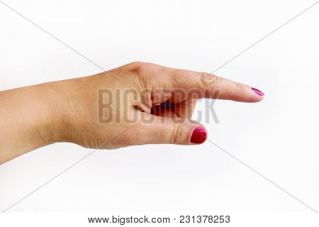 Hand With Forefinger Stretched Forward, On White Background
