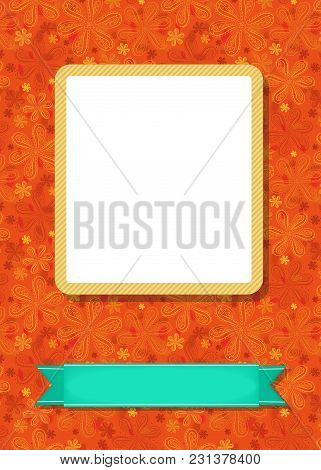 Graceful Greeting Card. Geometric Floral Pattern. Yellow Frame For Custom Photo. Green Banner For Cu