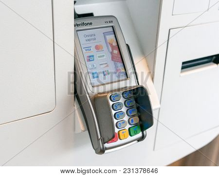 Moscow, Russia, March 15 2018: Close up shot of McDonald's ordering kiosks payment terminal