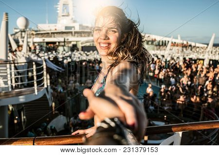 Girlfriend Holding Hands in a Romantic Trip on Cruise Ship