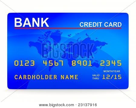 credit card on white. Isolated 3D image