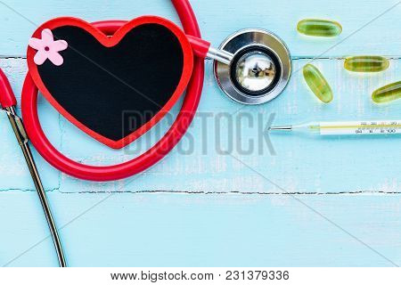 World Health Day, Healthcare And Medical Concept. Stethoscope, Red And Black Heart, Thermometer And